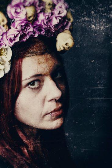 Fotoshootings Frau mit Blumenkranz
