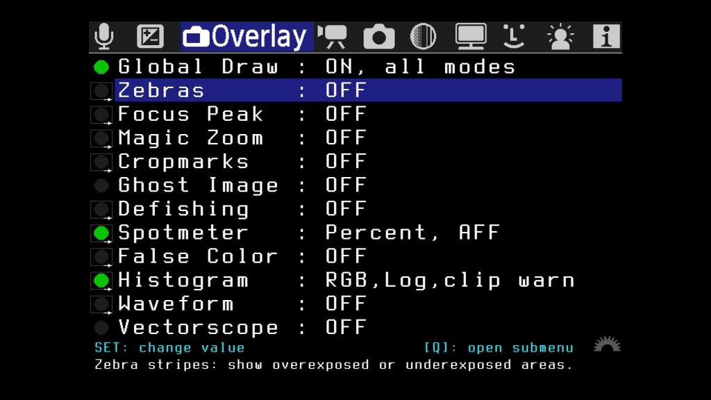 Das Menü Overlay (Überblendung)