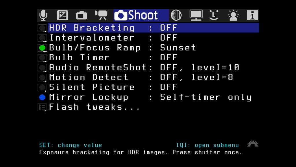 """Das Menü """"Shoot"""""""