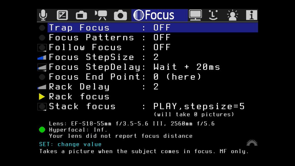 Das Menü Focus