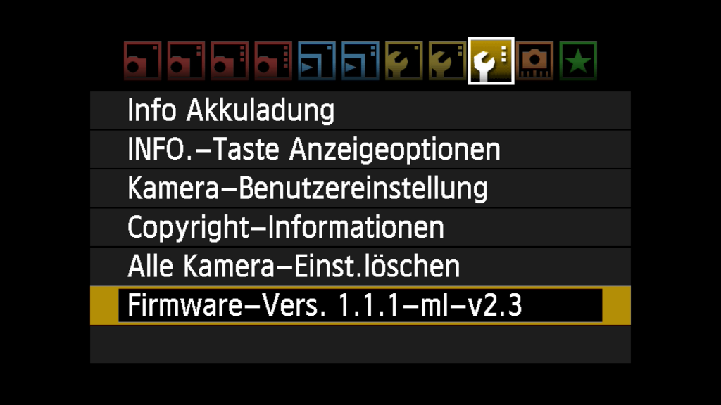 Magic Lantern: Firmwareversion