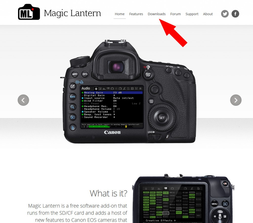 Magic Lantern: Webseite