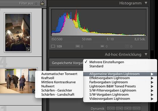 Ad-hoc-Entwicklung in Adobe Lightroom