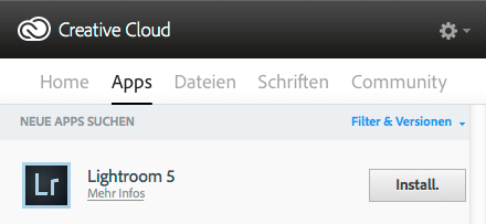 "Menü des Programms ""Adobe Creative Cloud"""