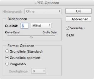 Speichern Optimiert des JPG-Format