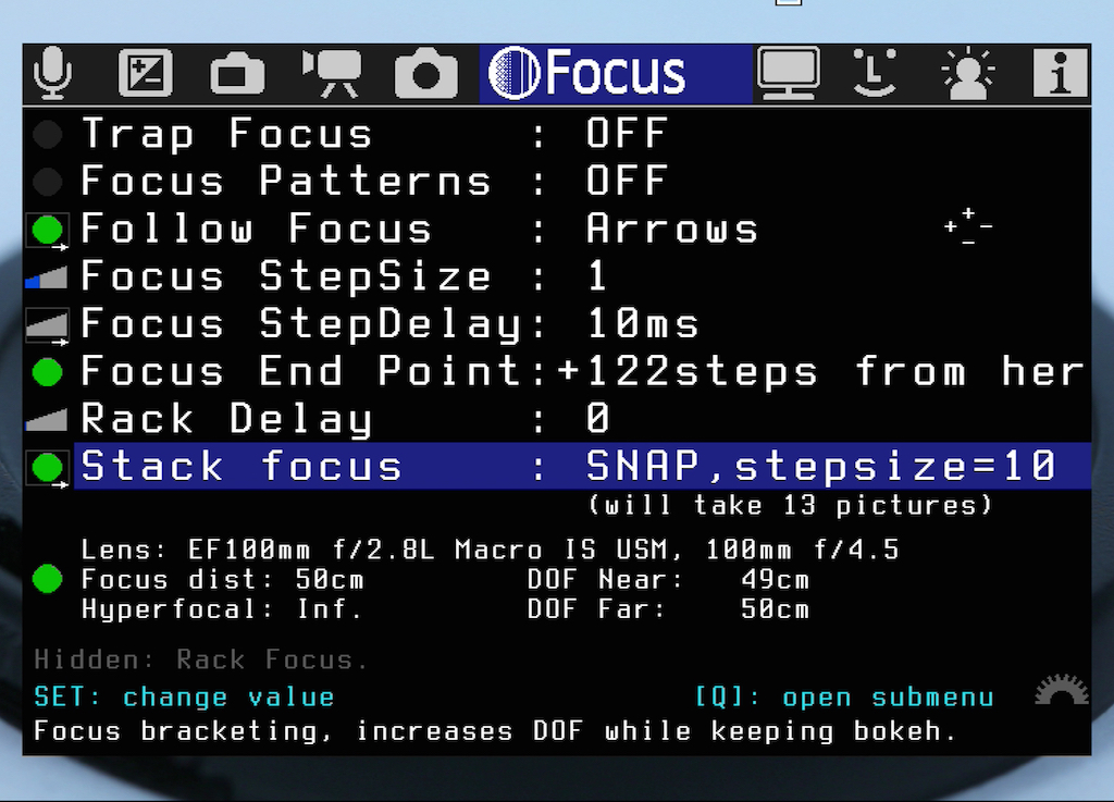 Das Untermenü Stack Focus