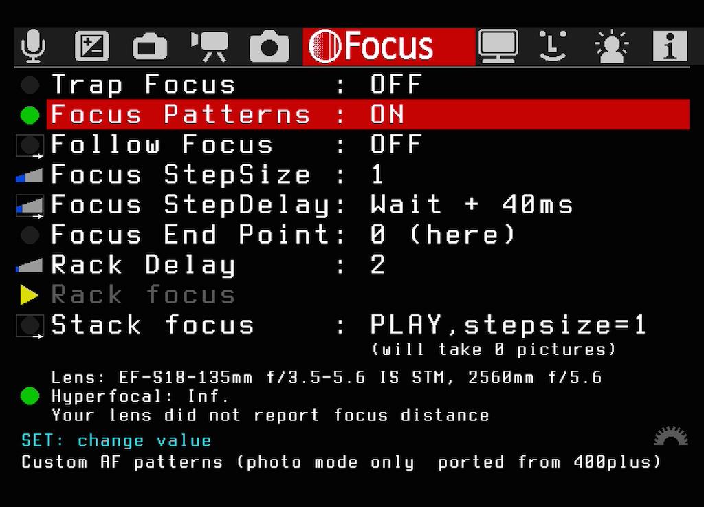 Das Untermenü Focus Pattern