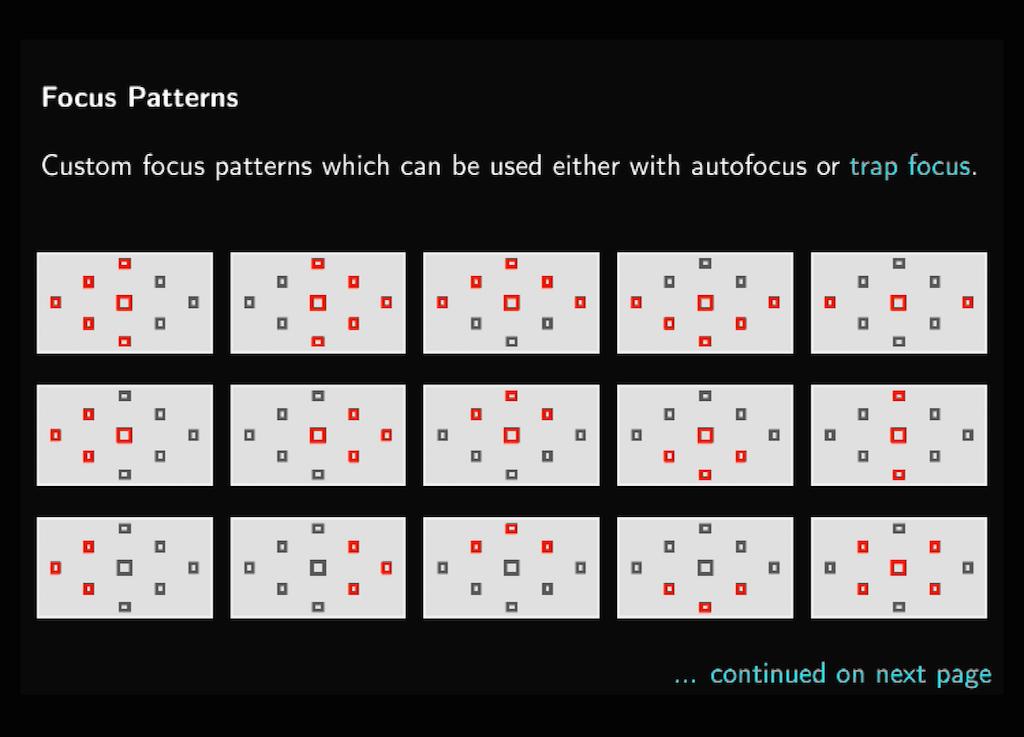 Die verfügbaren Focus Pattern