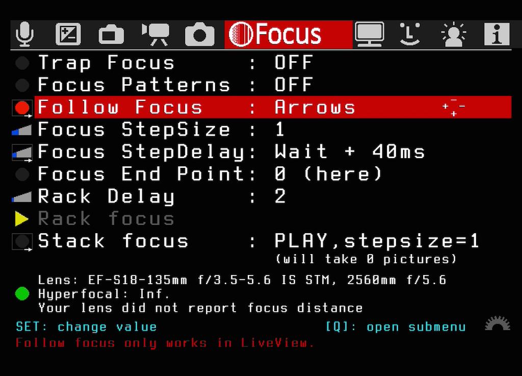 Das Untermenü Follow Focus