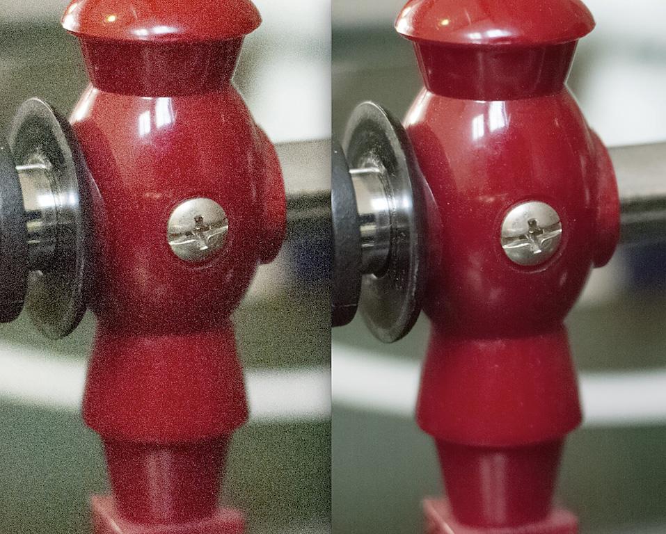 Durch diese Technik erkennt man zum Beispiel auch Staub. Bei der Reduzierung von Rauschen in einem einzigen Fotos durch eine Software würde der Staub mit weg gerechnet.