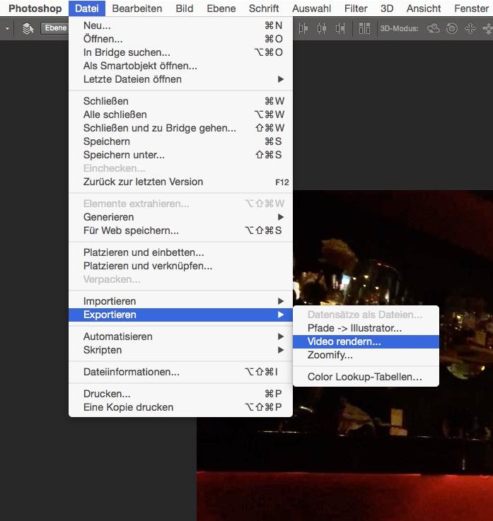 """Öffnet das Video einfach in Photoshop und markiert in der Zeitleiste den Bereich mit weitestgehend wackelfreien Inhalt. Im Menü """"Datei"""" findet ihr dann unter """"Exportieren"""" die Option """"Video rendern..."""""""
