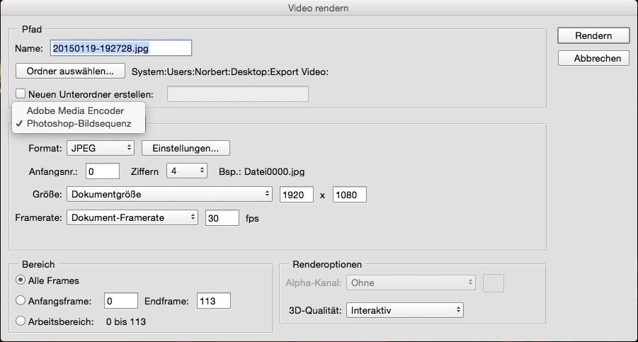 Im Dialog wählt man anstatt einer Videoausgabe eine Bildsequenz. Der Export in das JPG-Format anstatt verlustfreies BMP- oder TIFF-Format bietet einen trickreichen Vorteil auf den wir noch genauer eingehen.