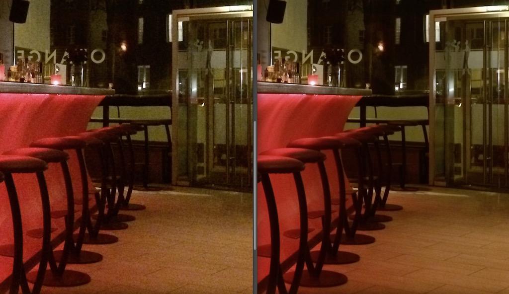 Das Ergebnis einer Bearbeitung aus einem iPhone-Video. WIe Ihr seht, ist die Qualität des Stacks (rechts) gegenüber dem Einzelframe aus dem Video deutlich gestiegen.