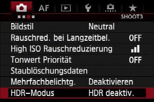 HDR – Kameramenü: 3