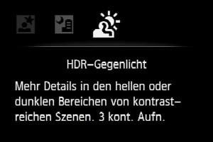 HDR – Kameramenü: 2