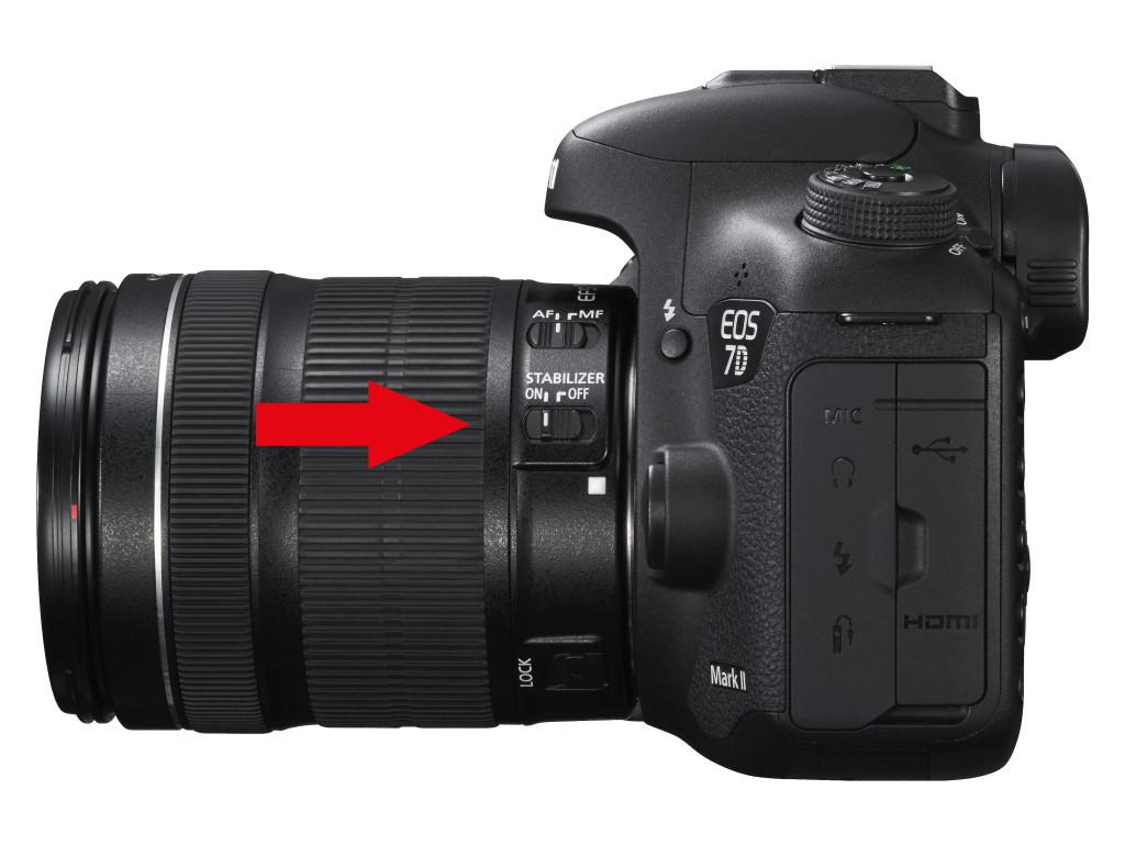 Stabilisatoren gibt es in der Kamera und am Objektiv, sie können per Schalter deaktiviert werden (für Aufnahmen vom Stativ wichtig)