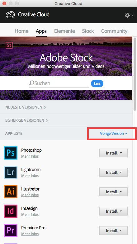 Alte Adobe Version installieren – 2