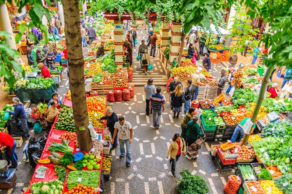 Schnappschuss eines Marktplatzes