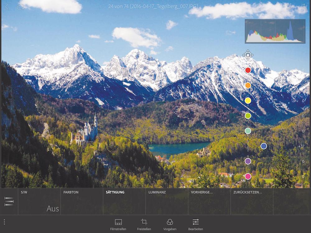 Farb-Spiele: Mit der Gratis-App Lightroom mobile kannst Du gezielt Korrekturen an ausgewählten Farben vornehmen – hier am Blau des Himmels.