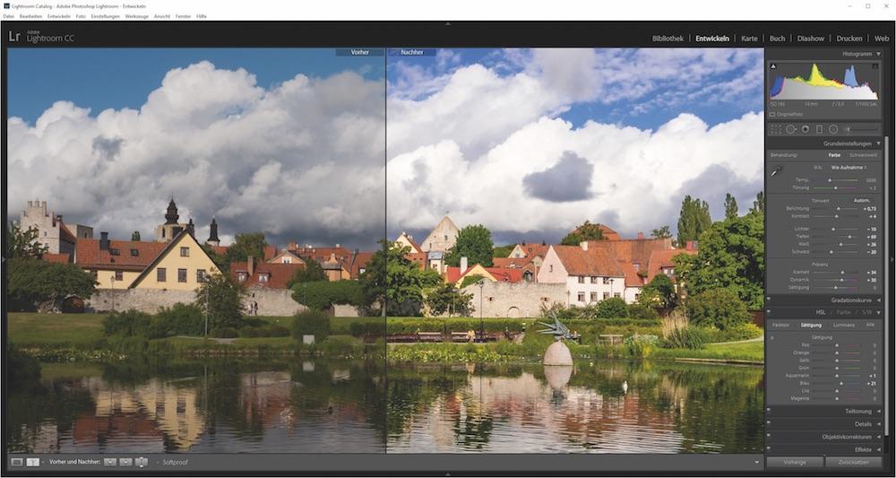 Gute Aussichten: Mit Raw-Dateien polierst Du Kontrast und Bildschärfe optimal auf. Hier ein Vorher-Nachher-Vergleich im Programm Lightroom.