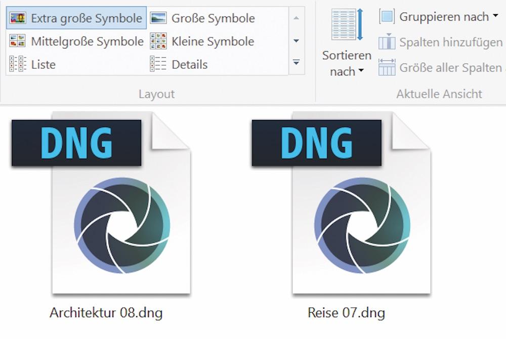 DNG-Dateien im Windows Explorer