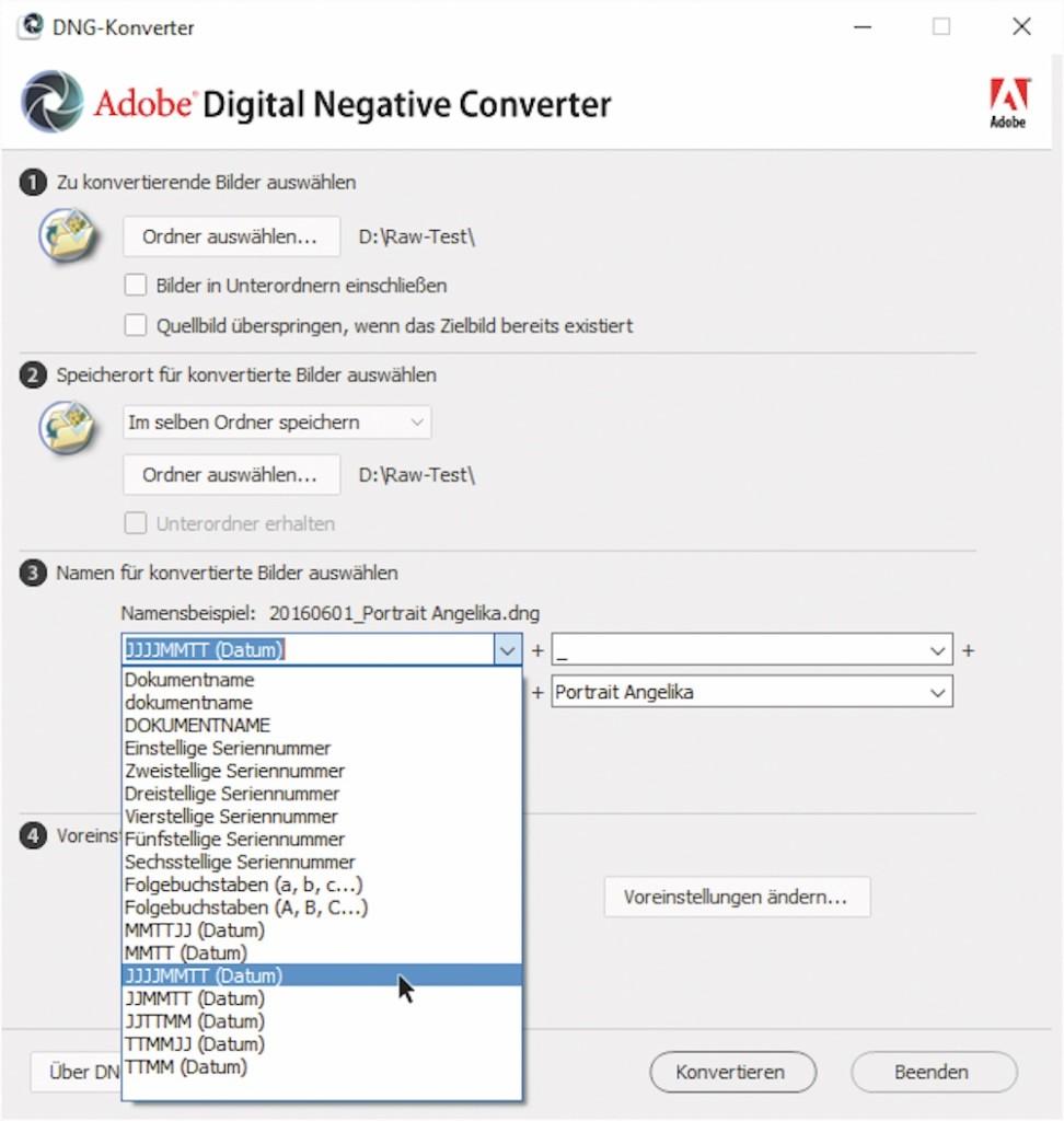 Dateiwandler: Der kostenlose DNG-Konverter rechnet die Original-Dateien der Kamerahersteller ins universelle DNG-Format um.