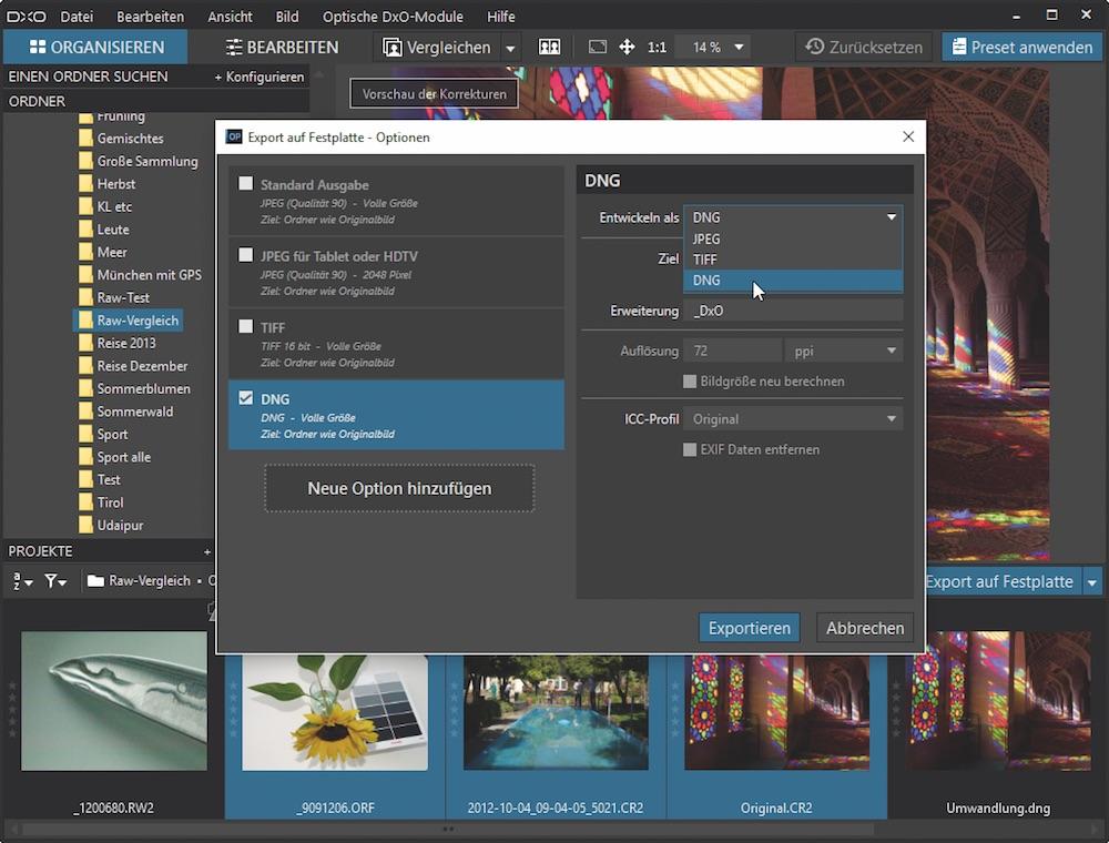 Neues Format: DxO OpticsPro rechnet vorhandene RAW-Dateien zu DNG um.