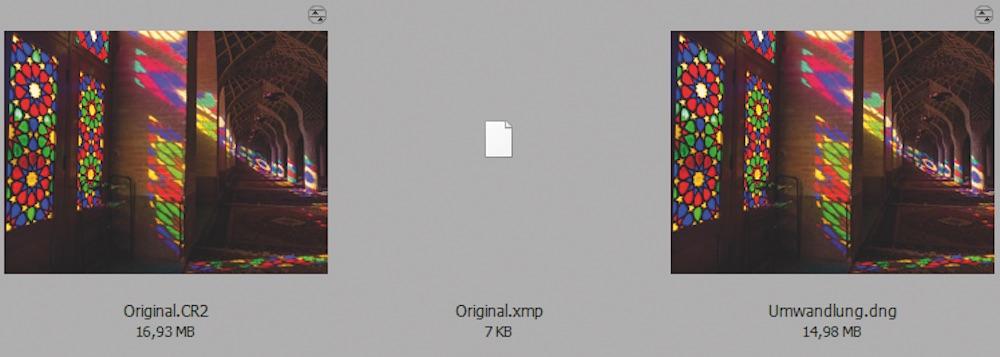 Im Vergleich: Beide Raw-Dateien wurden bearbeitet. Die CR2-Datei belegt mehr Speicherplatz und erfordert eine zusätzliche kleine XMP-Datei (Mitte). Die DNG-Umwandlung benötigt keine XMP-Datei.