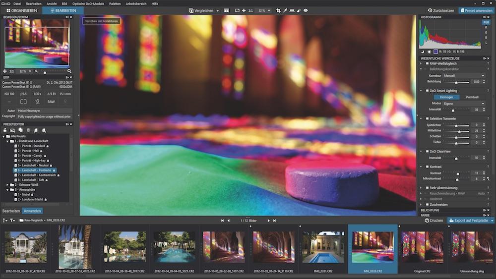 Volles Programm: Mit seitlichen Bedienfeldleisten, Filmstreifen und zentraler Bildanzeige ist DxO OpticsPro ein typisches Programm zur RAW-Bearbeitung.
