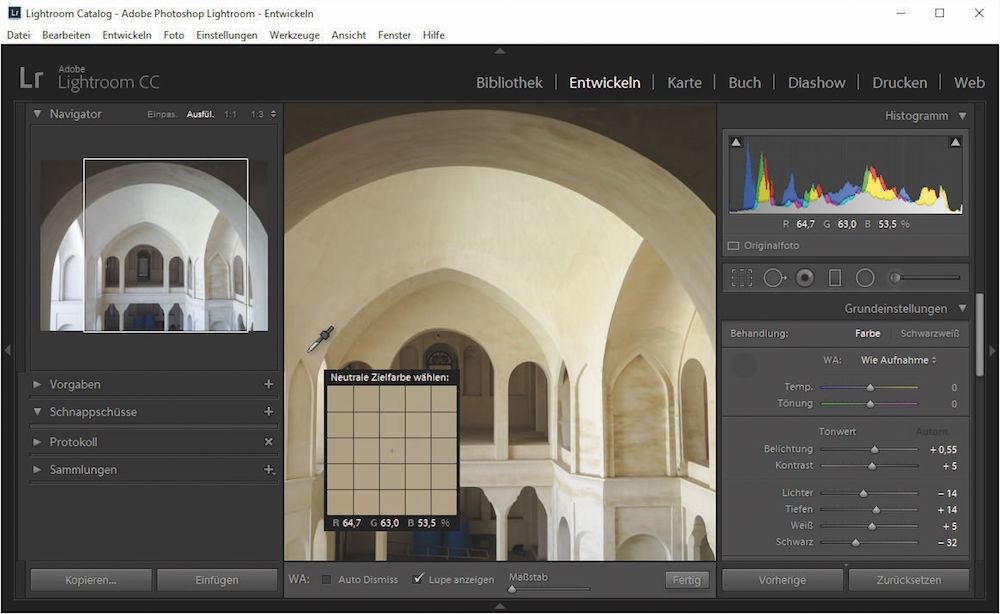 Schnelles Werkzeug: Der Navigator von Lightroom zeigt, wie ein Klick an der aktuellen Stelle das Bild verändern wird – hier wird es deutlich kühler.