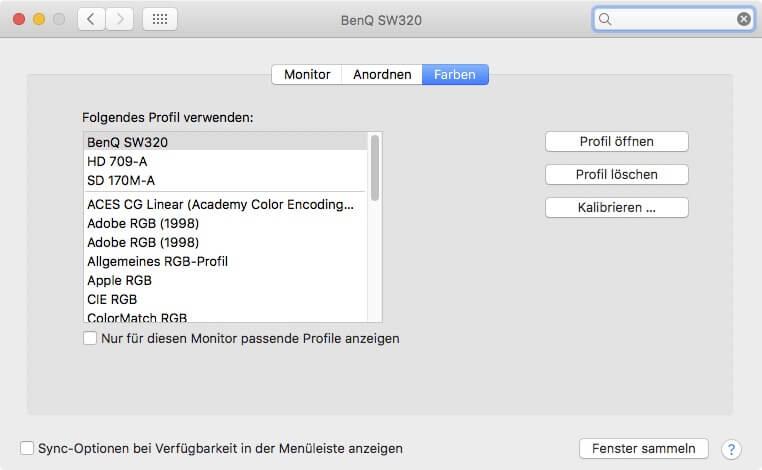 Beispiel der Korrektur der Farbwerte durch ein Profil durch das Betriebssystems von Apple.