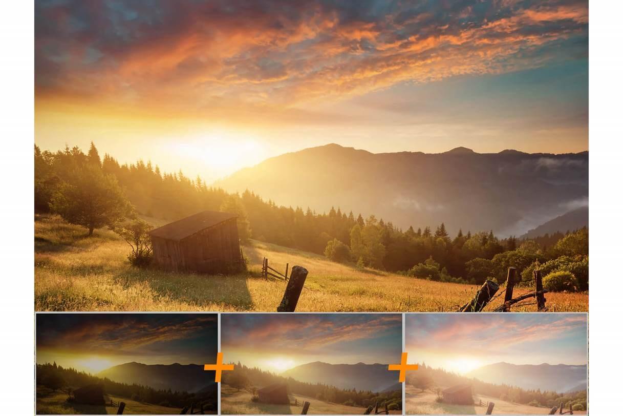 Holzschuppen mit Sonnenaufgang