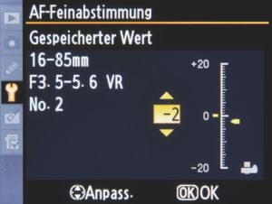 Brennweite: AF-Feinabstimmung