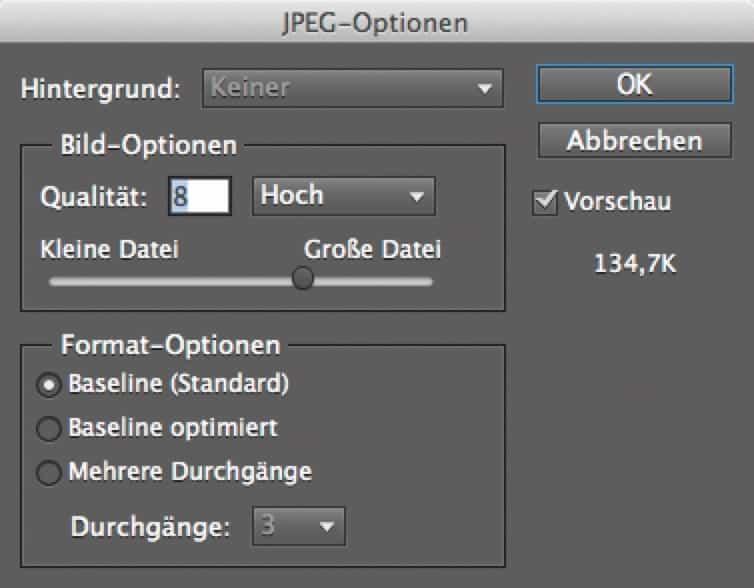 JPEG-Optionen