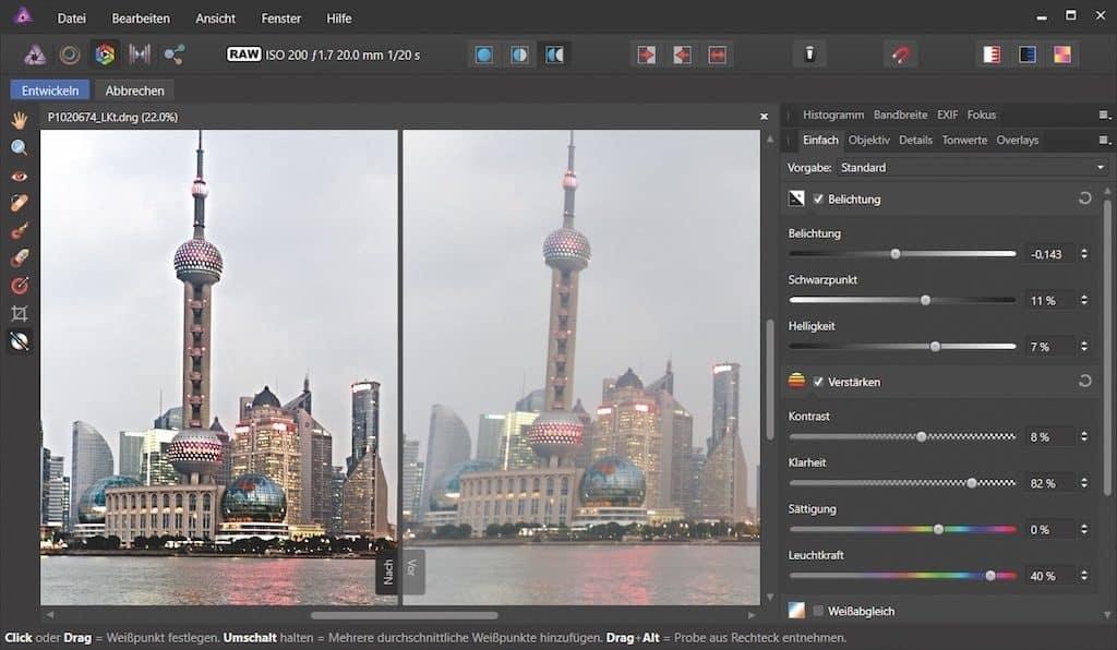 Kontrast und Farben bei Affinity Photo