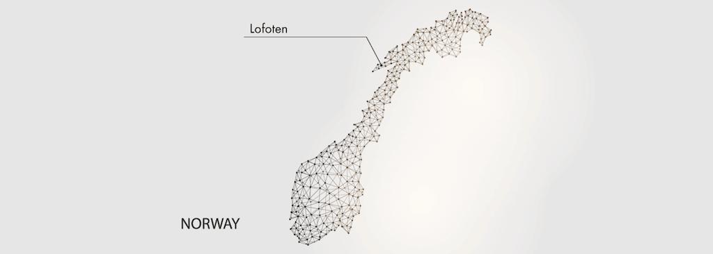 Karte mit dem Lofoten Standort