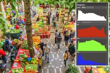 Blick auf einen Markt mit Darstellung vom Histogramm des RGB-Kanals