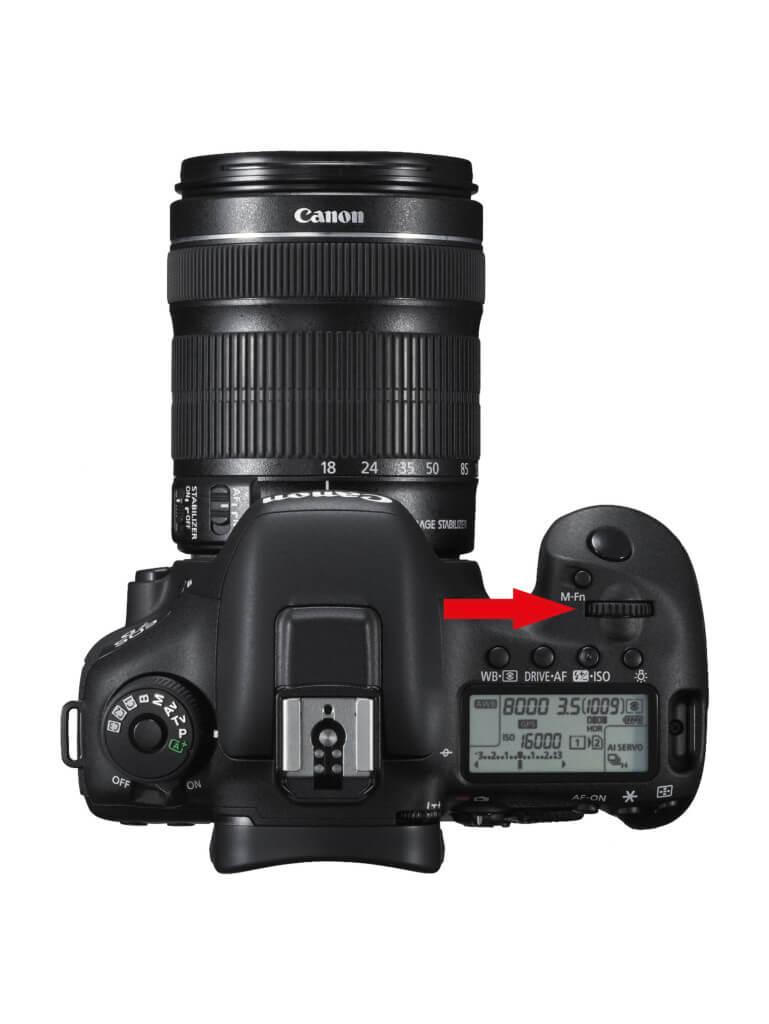 Das Wahlrad zum Shiften an einer Canon Kamera