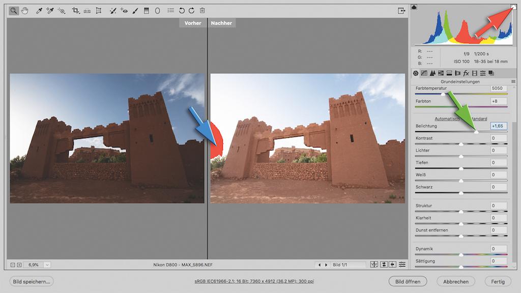 Vorher/Nachher-Ansicht bei der Bildbearbeitung