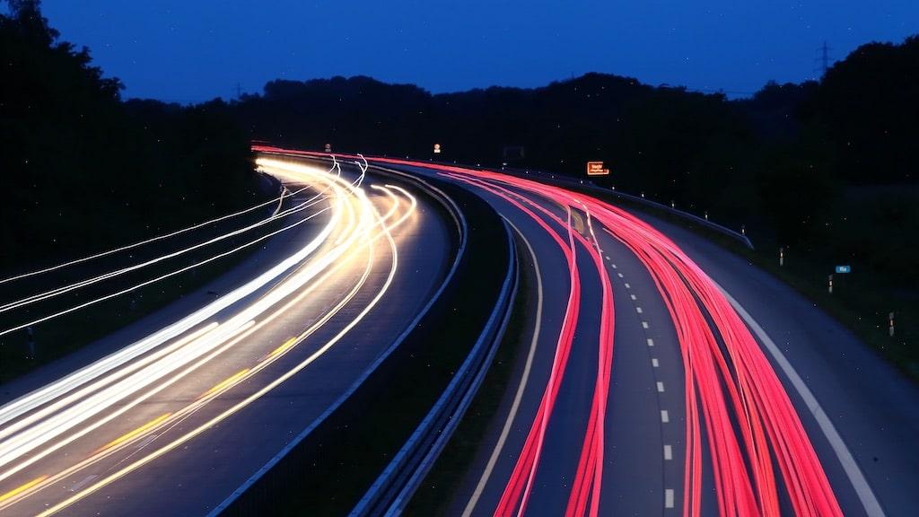 Langzeitbelichtung der Autobahn in Richtung Nordhorn