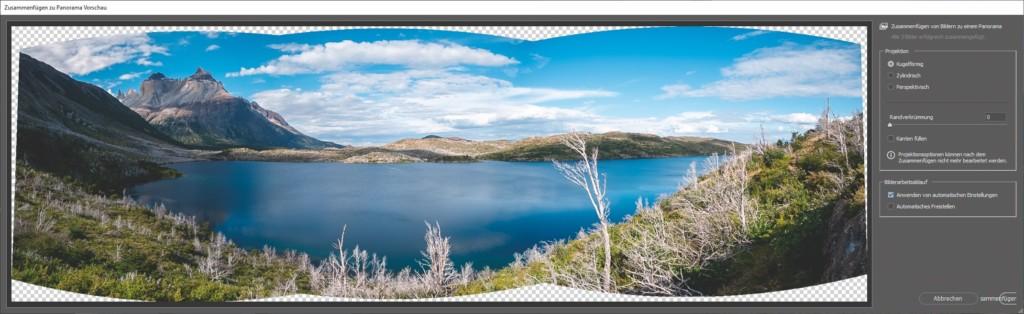 Panoramabild eines Sees