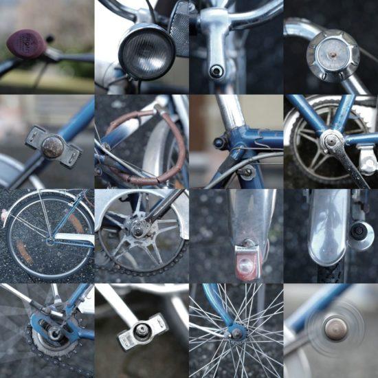 Collage eines alten Fahrrads
