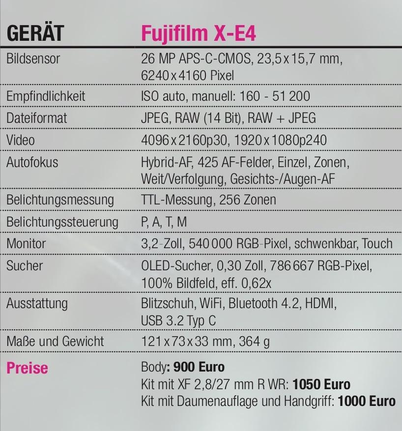 Info-Tabelle Fujifilm X-E4
