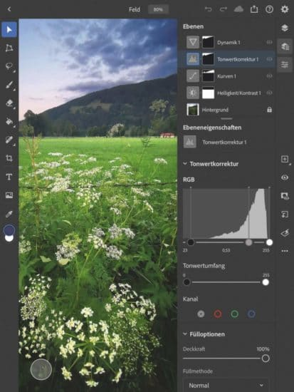 Bildbearbeitung Photoshop fürs iPad - Bearbeitung des Himmels
