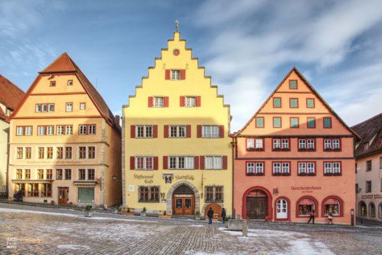 Häuser am Marktplatz in Rothenburg ob der Tauber
