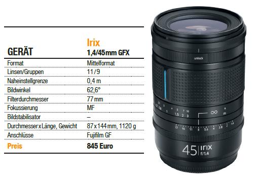 Irix 1,4/45mm - Mittelformat