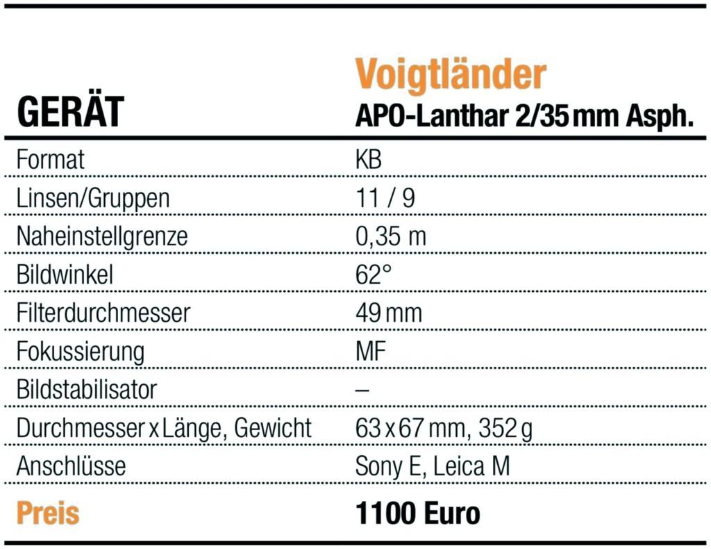 Info-Tabelle Voigtländer APO-Lanthar 2:35mm Asph