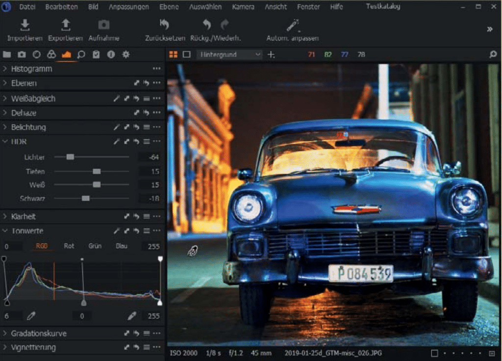 Screenshot Bildbearbeitungsprogramm Capture One 21 als eine Alternative zu Lightroom