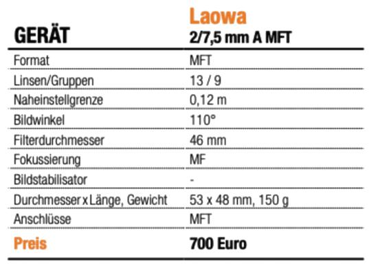 Laowa 2/7,5 mm A MFT